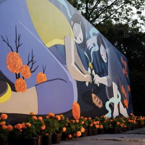 Hilda Palafox mural flowers